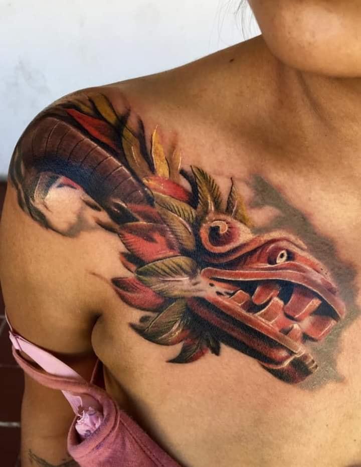 Los mejores Tatuajes de Quetzalcoatl (Serpiente emplumada) 10