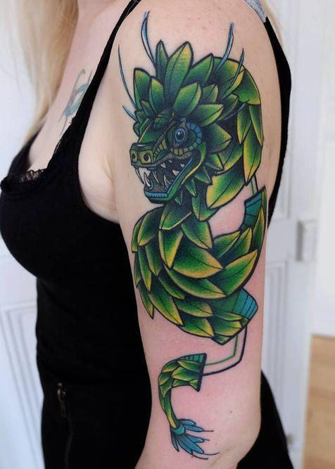 Los mejores Tatuajes de Quetzalcoatl (Serpiente emplumada) 7
