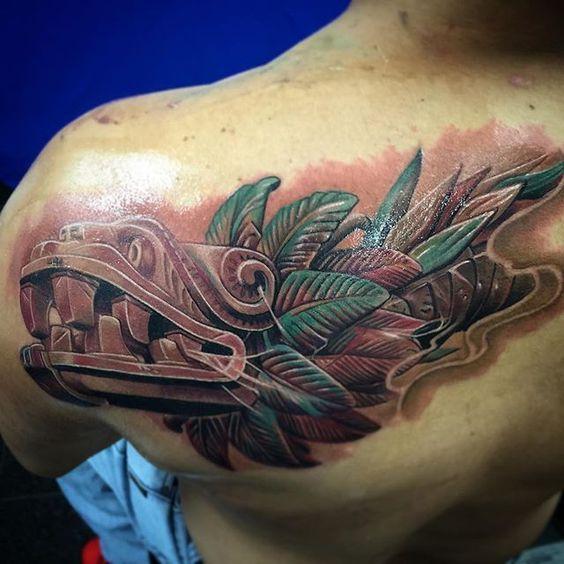 Los mejores Tatuajes de Quetzalcoatl (Serpiente emplumada) 22