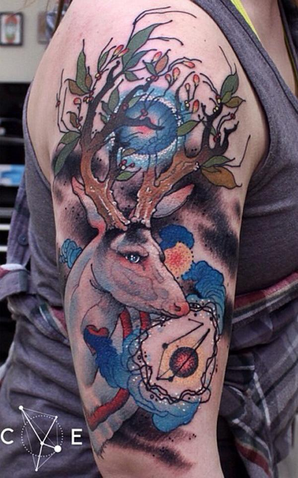 89 Ideas para Tatuajes de Ciervos (+Significado) 67