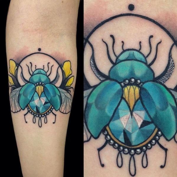 62 Ideas de Tatuajes de Escarabajos (+Significados) 36