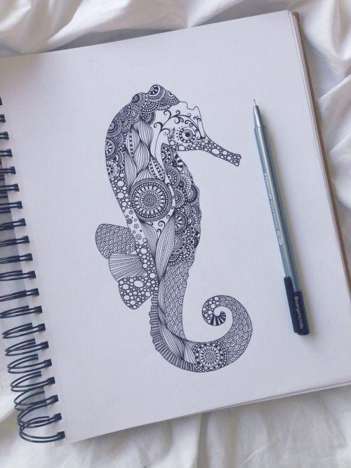 69 Ideas para Tatuajes de Caballitos de mar (+ Significado) 46