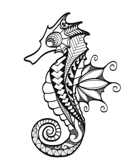 69 Ideas para Tatuajes de Caballitos de mar (+ Significado) 52