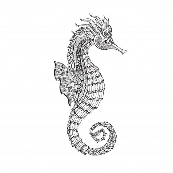 69 Ideas para Tatuajes de Caballitos de mar (+ Significado) 53