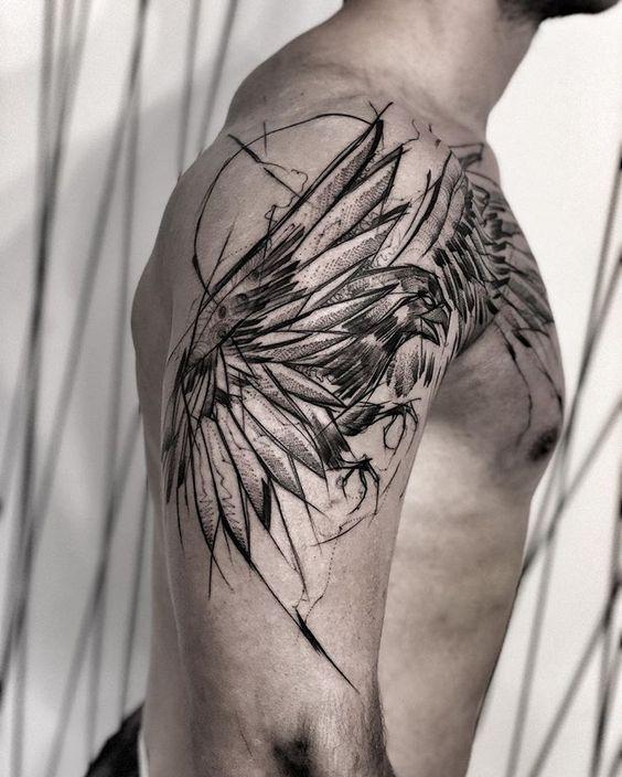 69 Ideas para Tatuajes de Cuervos (+ Significados) 8