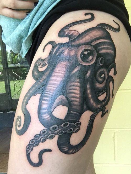 96 Ideas para Tatuajes de Pulpos (Kraken) con Significados 32