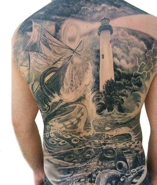 96 Ideas para Tatuajes de Pulpos (Kraken) con Significados 10