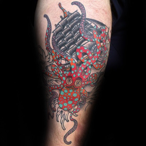 96 Ideas para Tatuajes de Pulpos (Kraken) con Significados 14