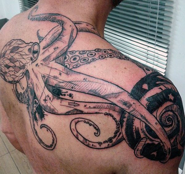 96 Ideas para Tatuajes de Pulpos (Kraken) con Significados 44