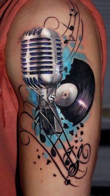 Tatuajes de Notas Musicales e Instrumentos 18