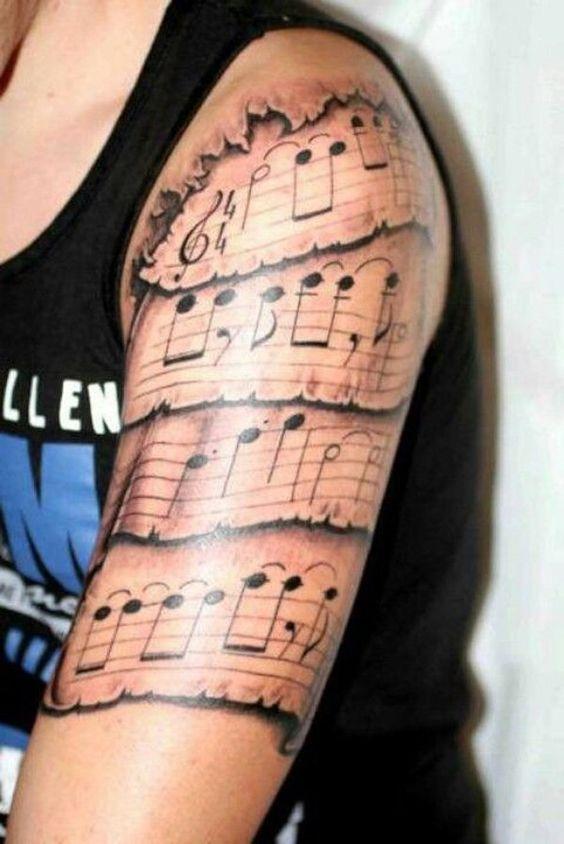 Tatuajes de Notas Musicales e Instrumentos 39
