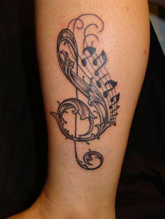 Tatuajes de Notas Musicales e Instrumentos 6
