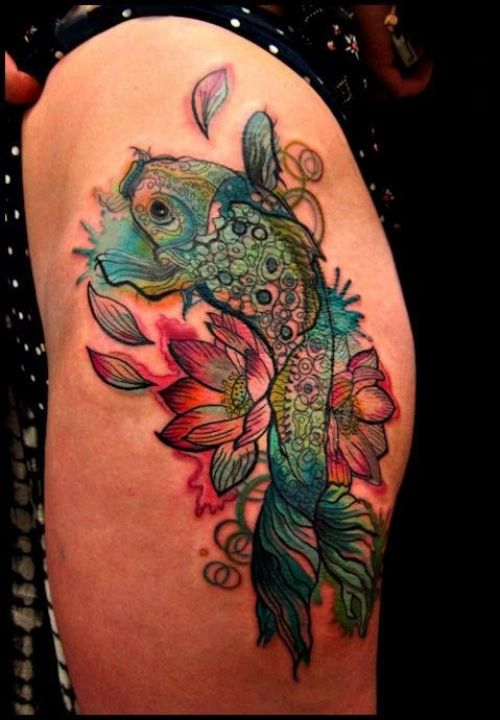 64 Ideas de Tatuajes de Pez Koi (+ Significados) 3