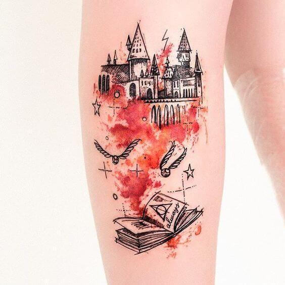 9 3/4 Ideas para Tatuajes de Harry Potter que todos los fans quieren 36
