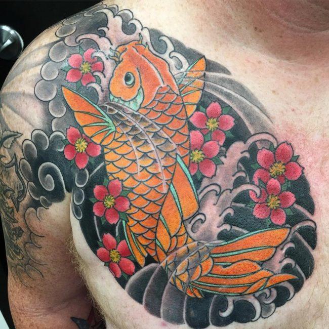 64 Ideas de Tatuajes de Pez Koi (+ Significados) 61