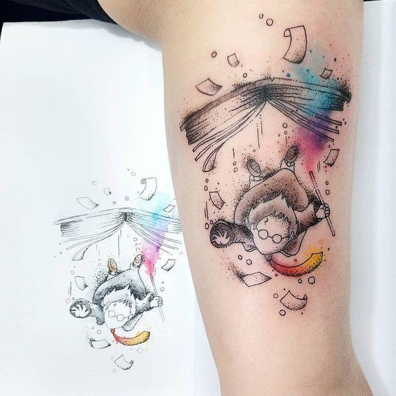 9 3/4 Ideas para Tatuajes de Harry Potter que todos los fans quieren 45