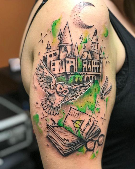 9 3/4 Ideas para Tatuajes de Harry Potter que todos los fans quieren 48